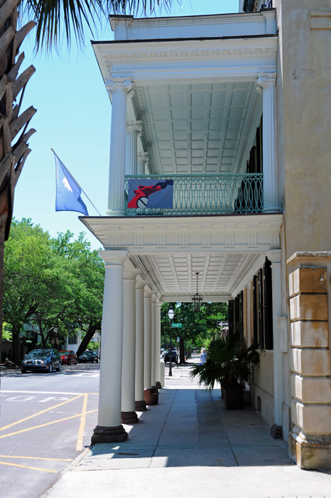 TheBranford-Horry House is a true zero lot line house with the balcony extending to the street over the sidewalk