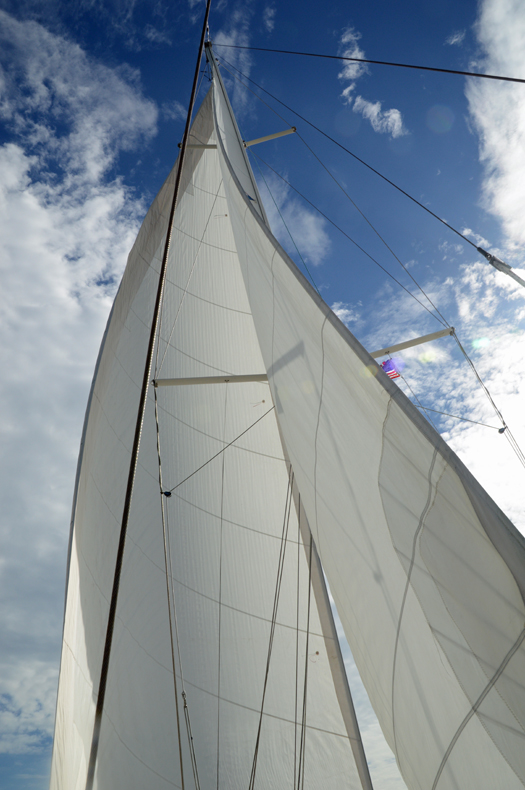 The sails set - perfect tell tails
