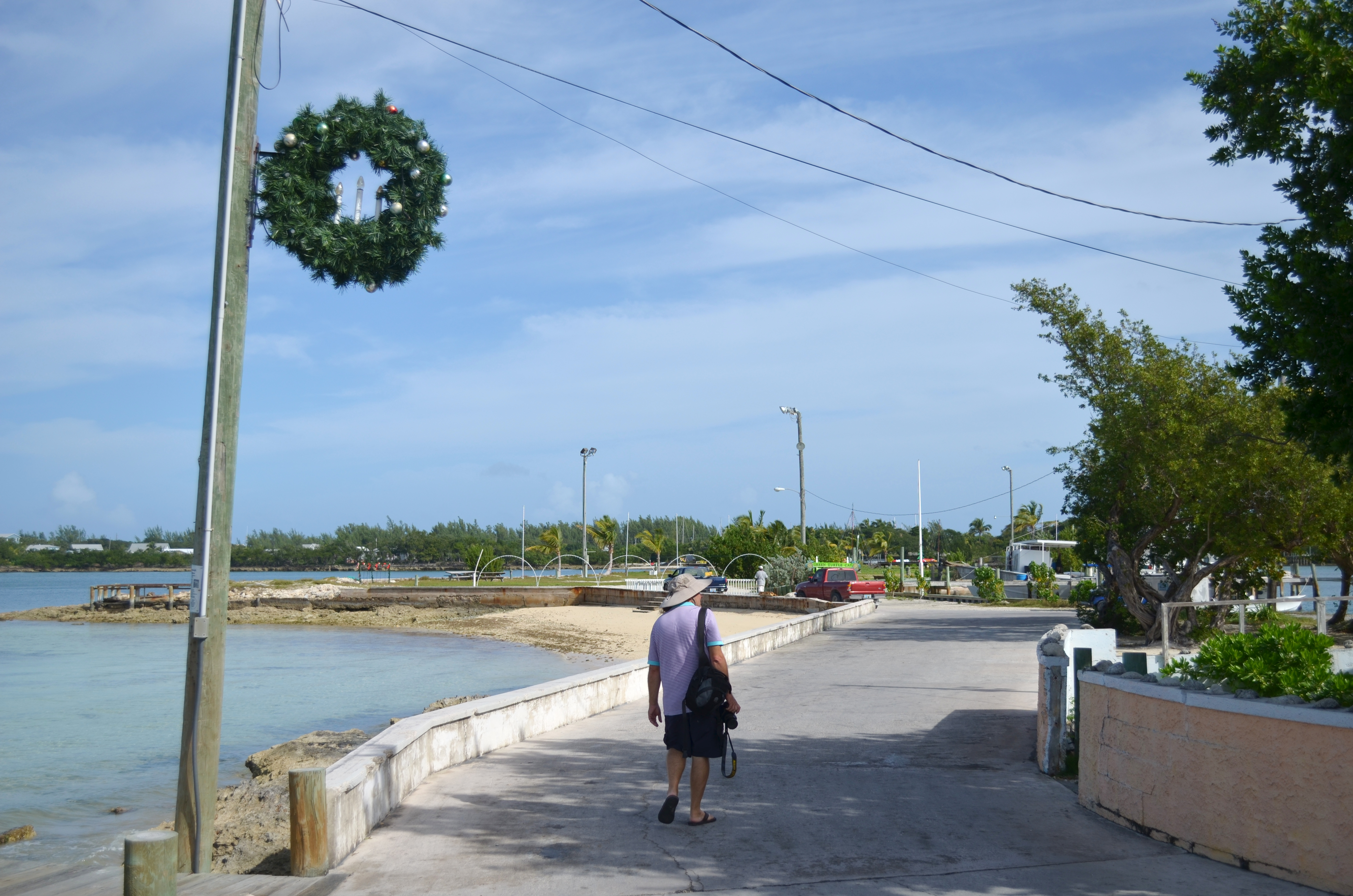 Mark walks through New Plymouth, Green Turtle Cay on Christmas Eve
