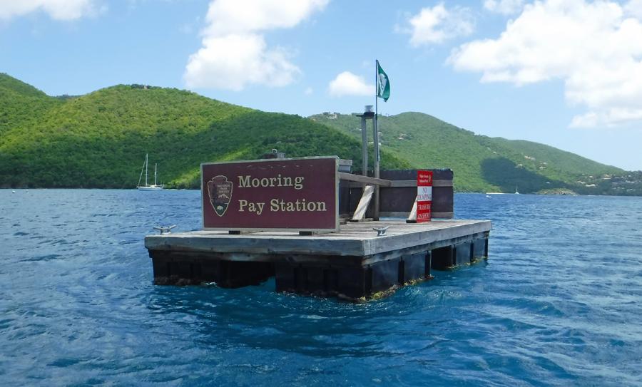 Mooring pay station Maho St John, USVI Bay