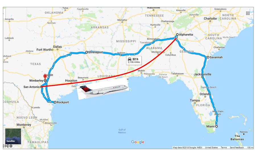 Our travels; Almost 3,000 miles by car and then a flight from San Antonio to Atlanta