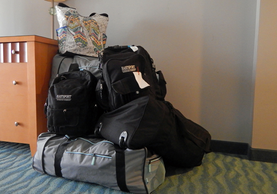Our big pile of bags to haul to Curaçao