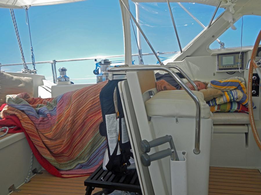 Taking advantage of calm seas - Nap time!