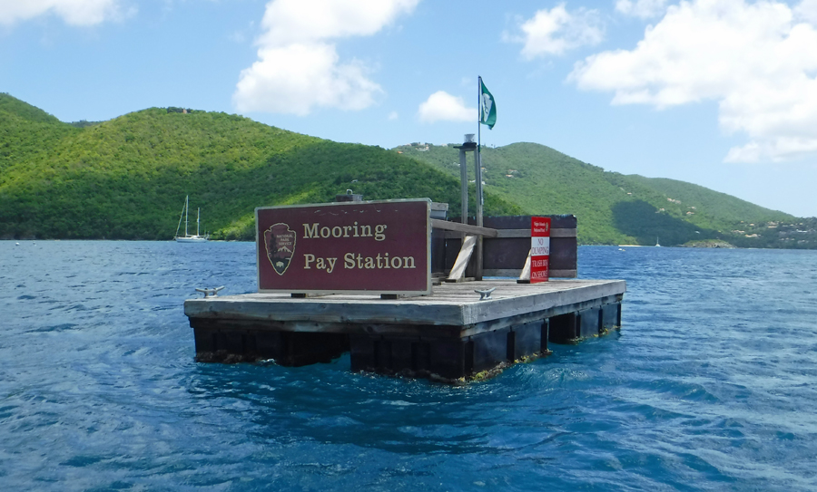 Mooring pay station Maho St John, USVI Bay