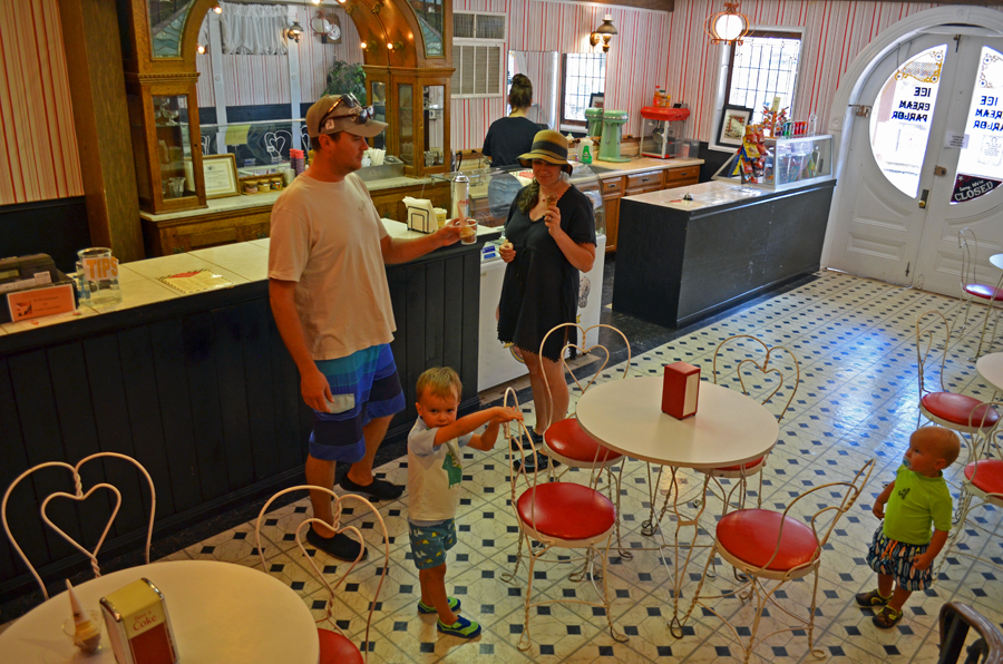 Inside the old ice cream parlor