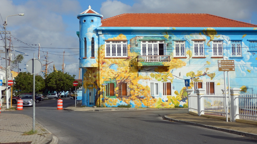 We spotted this really cool building on the way to check-out with Curacao customs