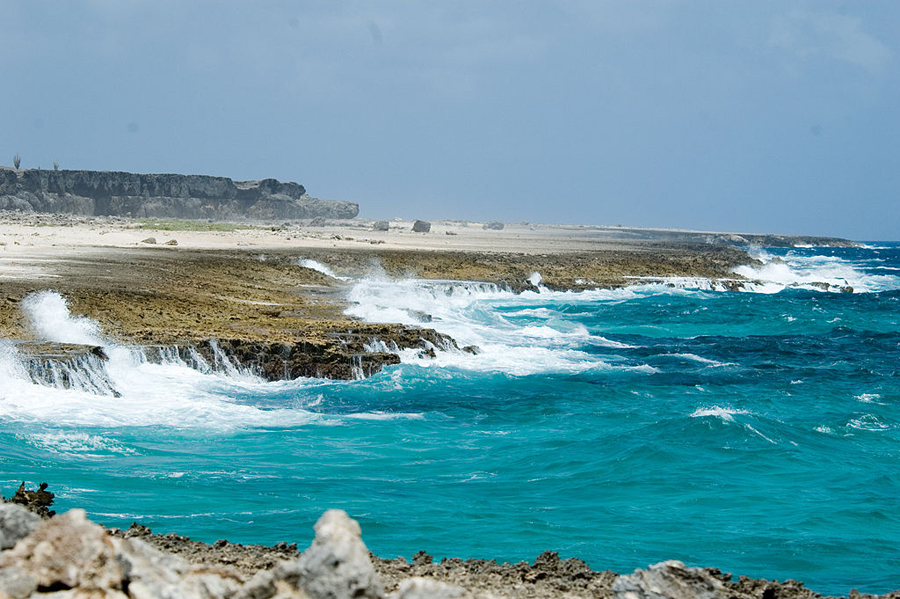 The long route follows the coast. The cliff in the backgound was once a reef. Bonaire continues to rise from the ocean floor.