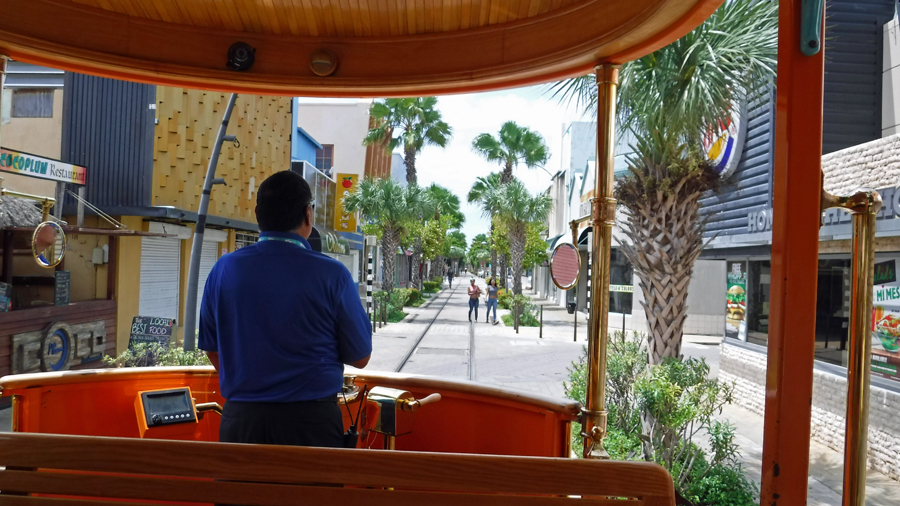 Riding the tram down Main St