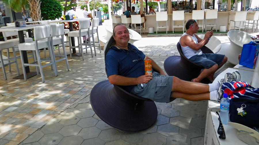 Taking a break - These rather odd chairs were actually very comfortable