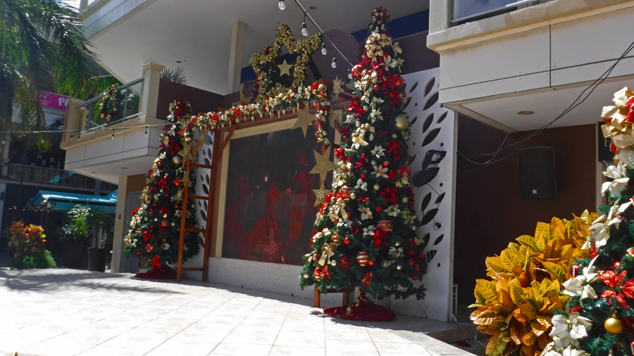Shopping Mall decorations - We find it hard to think of Christmas when it so hot outside