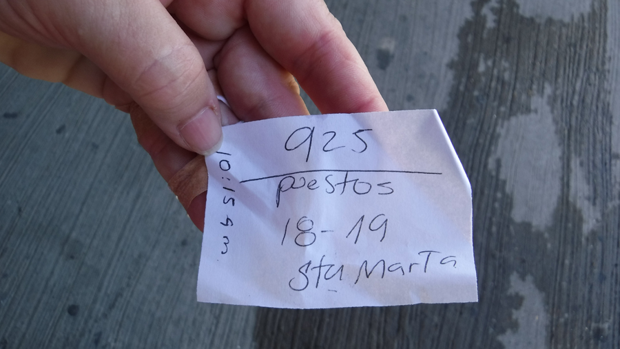 Our fancy bus ticket: Bus number 925 leaves at 10:15am - seats 18 and 19