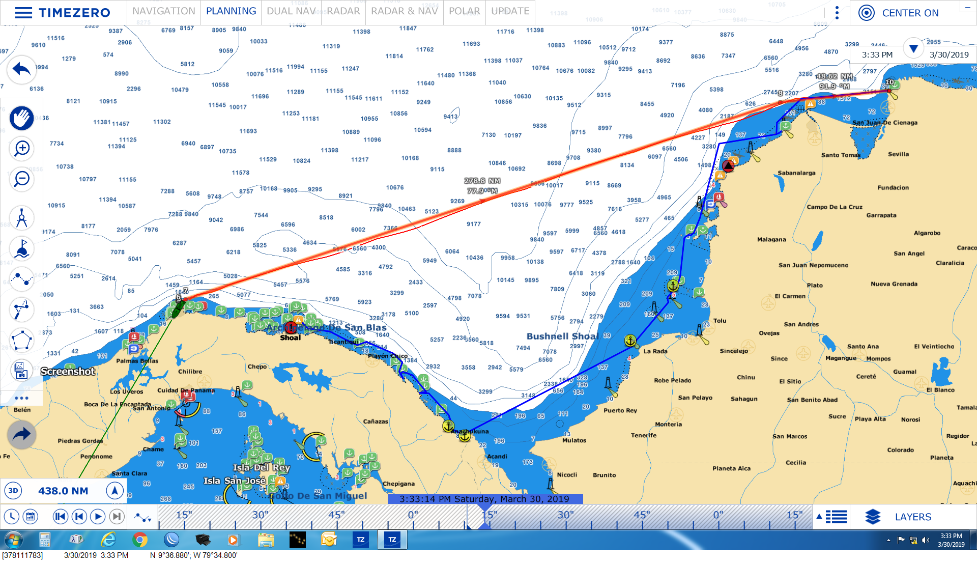 The blue line following the coast was the original plan - the red line is where we sailed