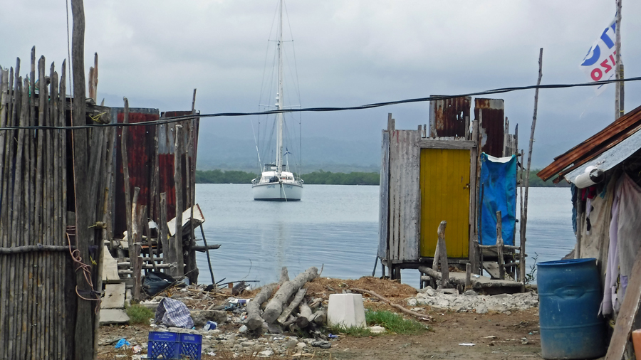 A view of our boat and the outhouse - yuck!